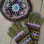Аксессуары ручной работы. Ярмарка Мастеров - ручная работа шерстяной вязаный комплект из берета и перчаток. Handmade.