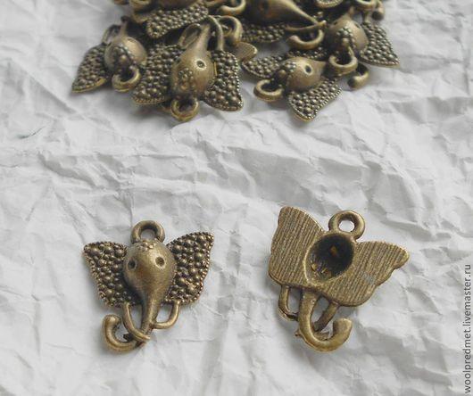 """Для украшений ручной работы. Ярмарка Мастеров - ручная работа. Купить Подвеска """"Голова слона"""". Handmade. Подвеска, слон"""