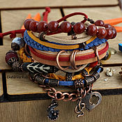 Украшения handmade. Livemaster - original item Boho-chic leather bracelet with carnelian