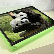 Для дома и интерьера ручной работы. Ярмарка Мастеров - ручная работа Столик-поднос на салатовой подушке (с вашей картинкой). Handmade.