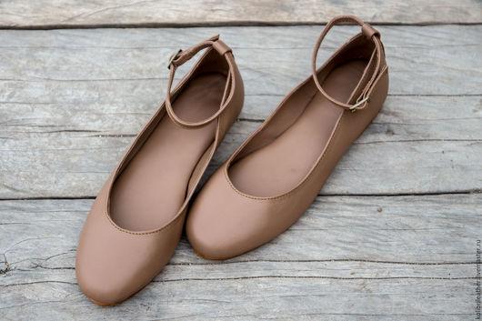 Обувь ручной работы. Ярмарка Мастеров - ручная работа. Купить Балетки из натуральной кожи. Handmade. Бежевый, балетки, балетки из кожи