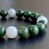 Украшения handmade. Livemaster - original item Bracelet White and Green Jade, Russian Jade,. Handmade.