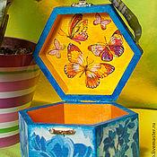 """Для дома и интерьера ручной работы. Ярмарка Мастеров - ручная работа Шкатулка """"Полёт бабочек"""". Handmade."""