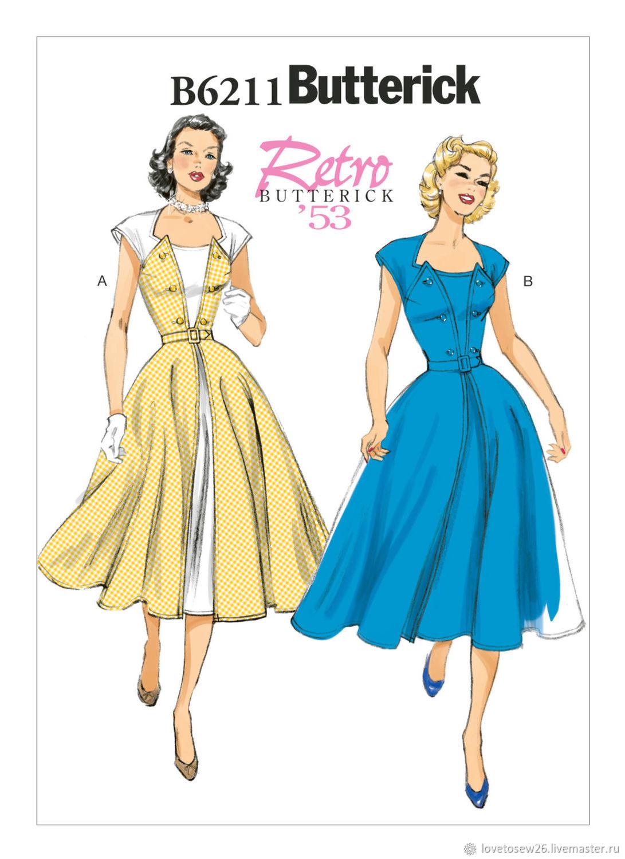 B6211 SEWING PATTERN Vintage Dress 1950s Retro 1953 Shop Online