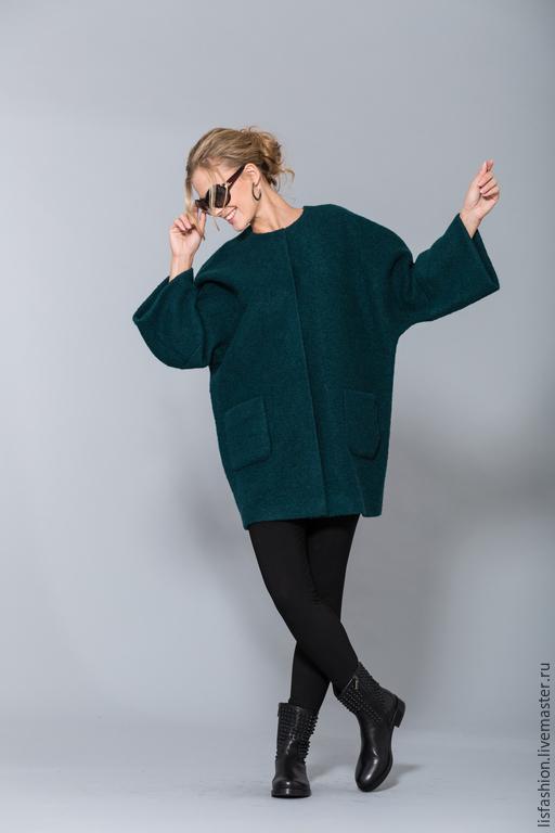 Верхняя одежда ручной работы. Ярмарка Мастеров - ручная работа. Купить Пальто 1525E-Изумрудный. Handmade. Пальто из шерсти