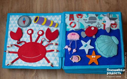 """Развивающие игрушки ручной работы. Ярмарка Мастеров - ручная работа. Купить Развивающая книжка-игрушка """"Про море"""". Handmade. Синий"""