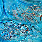 Аксессуары handmade. Livemaster - original item Silk scarf batik Sea battle. Handmade.