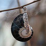Материалы для творчества handmade. Livemaster - original item Pendant Nautilus shell black silver. Handmade.