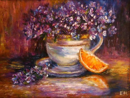 Натюрморт ручной работы. Ярмарка Мастеров - ручная работа. Купить Картина маслом Натюрморт с апельсином. Handmade. Тёмно-фиолетовый, фиалки