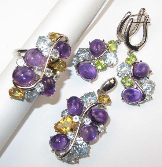 Серьги ручной работы. Ярмарка Мастеров - ручная работа. Купить Серьги, кулон, кольцо с аметистом и самоцветами серебряные. Handmade. Разноцветный