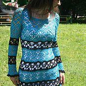 Одежда ручной работы. Ярмарка Мастеров - ручная работа Платье морская волна ажурное летнее вязаное крючком. Handmade.