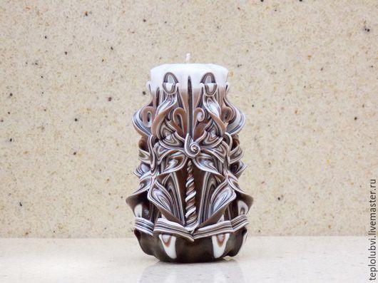 Свечи ручной работы. Ярмарка Мастеров - ручная работа. Купить Свеча резная ручной работы - коричневый белый - резные свечи. Handmade.