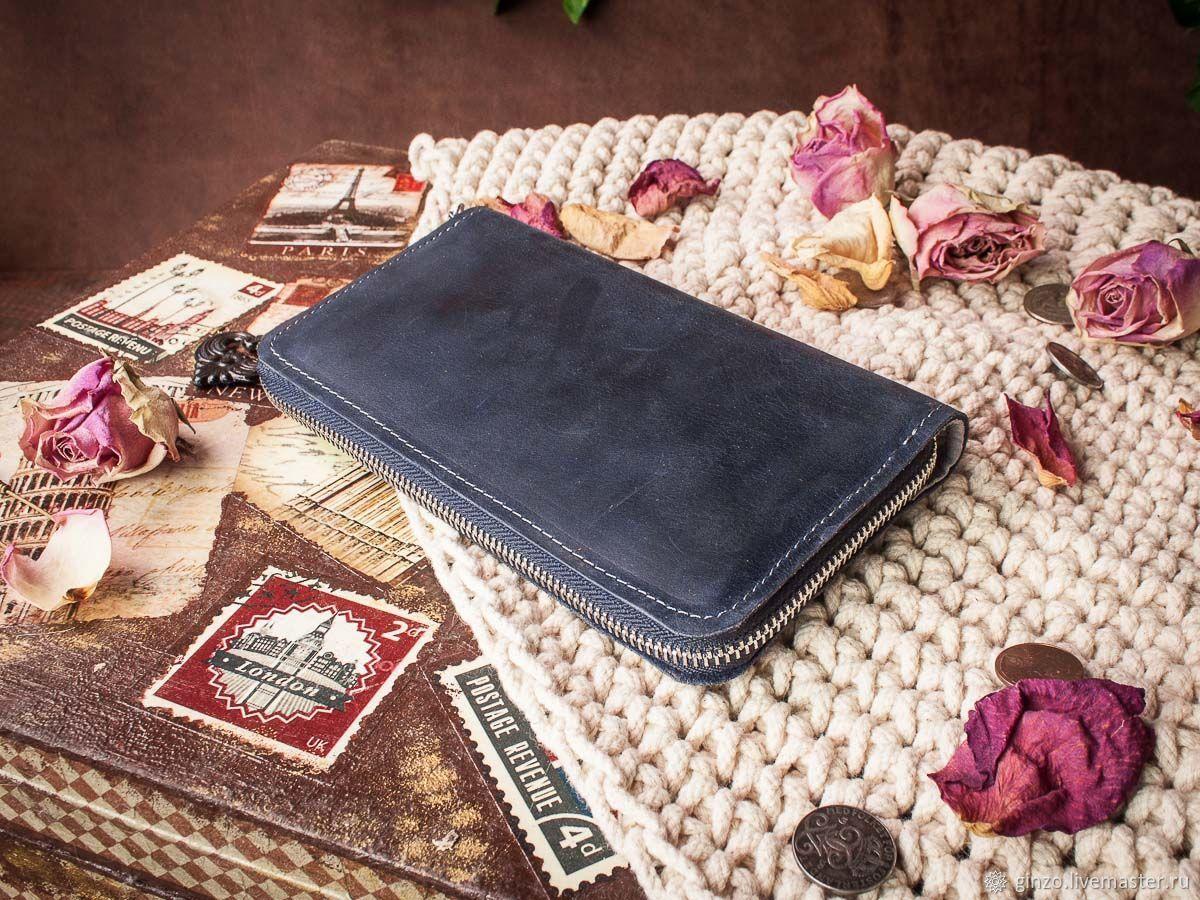 Синий кошелек женский кожаный на молнии DAISY, Кошельки, Тула,  Фото №1