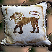 Для дома и интерьера handmade. Livemaster - original item Cross stitch Decorative Pillow Leo. Handmade.