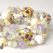 Украшения handmade. Livemaster - original item Long necklace of stones Lace. Handmade.