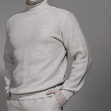 Clothing handmade. Livemaster - original item 100% linen Men`s sweater. Handmade.