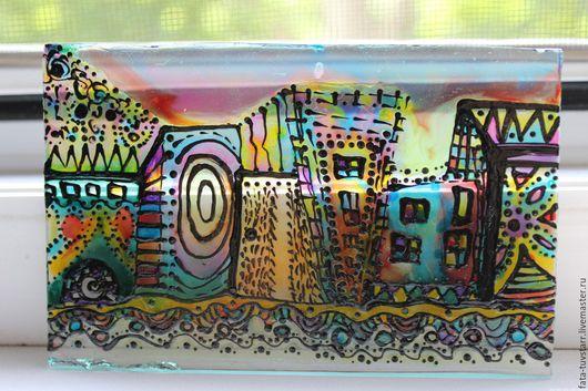 Город ручной работы. Ярмарка Мастеров - ручная работа. Купить Витраж разноцветный роспись по стеклу Ночные тайны. Handmade. Комбинированный