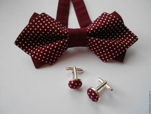 Галстуки, бабочки ручной работы. Ярмарка Мастеров - ручная работа. Купить Комплект бабочка+ запонки. Handmade. Бордовый, галстук бабочка