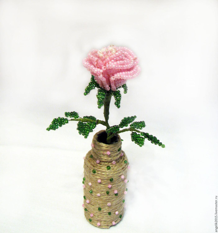 чайная роза из бисера схема плетения