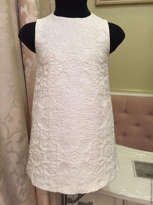 Одежда для девочек, ручной работы. Ярмарка Мастеров - ручная работа. Купить Платье из жаккарда. Handmade. Белый, комплект для девочки, батист