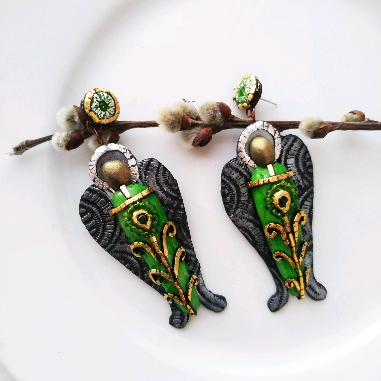 Серьги Твой Ангел всегда с Тобой в зелёном, Серьги классические, Омск,  Фото №1