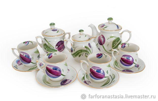 Сервиз чайный «Тюльпан пурпурный», Сервизы, Санкт-Петербург,  Фото №1