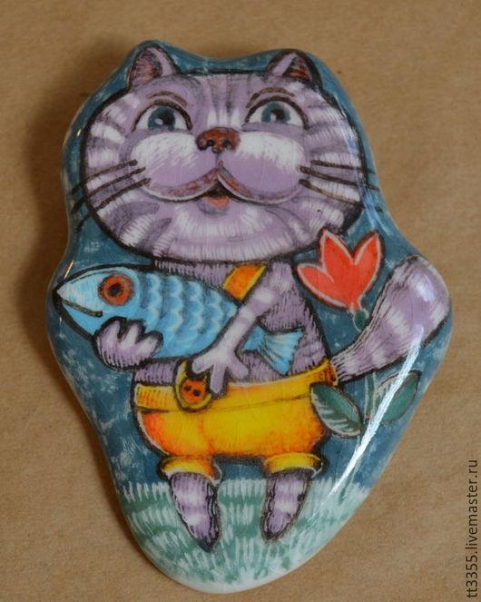 Броши ручной работы. Ярмарка Мастеров - ручная работа. Купить виртуозный кот с рыбой. Handmade. Синий, бирюзовый, naive art
