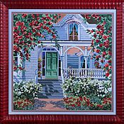 Картины и панно handmade. Livemaster - original item Cross stitch Red Rose Cottage. Handmade.