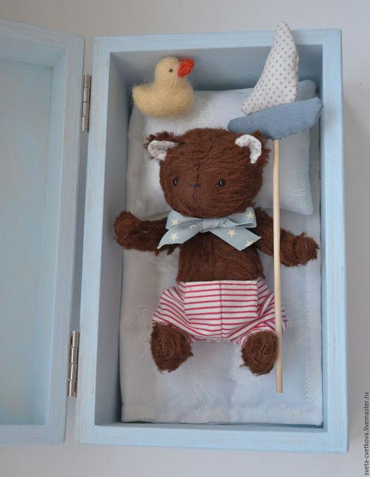 Мишки Тедди ручной работы. Ярмарка Мастеров - ручная работа. Купить Плюшевый мишутка в коробочке. Handmade. Голубой, коробочка