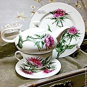 Посуда handmade. Livemaster - original item Painted porcelain tea Set Thistle. Handmade.