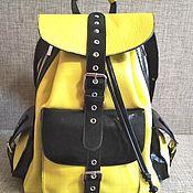 Сумки и аксессуары handmade. Livemaster - original item Backpacks: Youth leather backpack YELLOW and BLACK. Handmade.