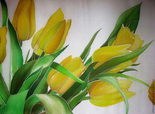 """Картины цветов ручной работы. Ярмарка Мастеров - ручная работа. Купить Панно-батик """"тюльпаны"""". Handmade. Батик панно"""