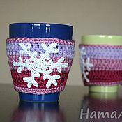 Подарки к праздникам ручной работы. Ярмарка Мастеров - ручная работа Грелки для кружки 2 шт Снежинка 1. Handmade.
