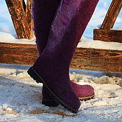 Обувь ручной работы. Ярмарка Мастеров - ручная работа Сапоги валяные цвета темной фуксии. Handmade.
