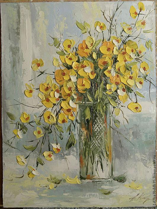 Картины цветов ручной работы. Ярмарка Мастеров - ручная работа. Купить Цветы - Купальница. Handmade. Картина, картина для интерьера, цветы