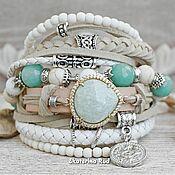 Украшения handmade. Livemaster - original item Boho style bracelet with amazonite and Mint agate