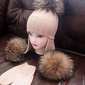 Работы для детей, ручной работы. Ярмарка Мастеров - ручная работа Мериносовый комплект на зиму с енотовыми помпонами.... Handmade.