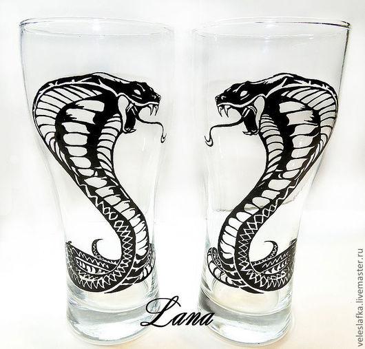 """Бокалы, стаканы ручной работы. Ярмарка Мастеров - ручная работа. Купить Бокалы """"Кобра"""". Handmade. Чёрно-белый, бокал"""