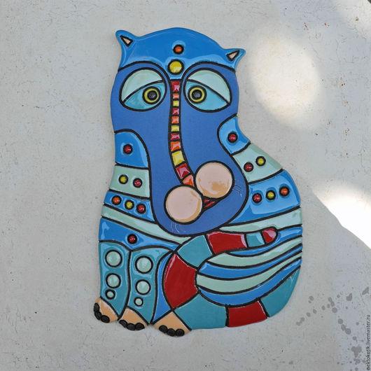Животные ручной работы. Ярмарка Мастеров - ручная работа. Купить Керамическое панно «Котик». Handmade. Керамика ручной работы, котики
