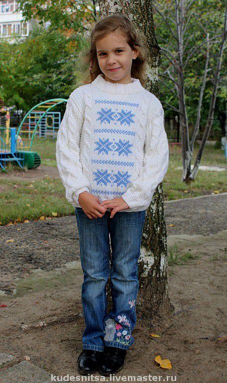Свитер для ребенка 5-6 лет (цена 1200 руб.) Ворот стоечка.  Связан на заказ (для примера)