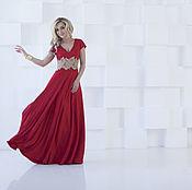 Одежда ручной работы. Ярмарка Мастеров - ручная работа Вечернее платье в пол, красное длинное платье. Handmade.