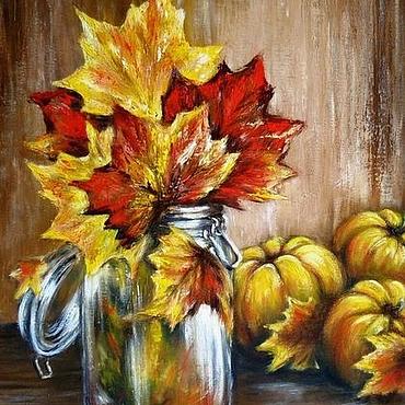 Картины и панно ручной работы. Ярмарка Мастеров - ручная работа Картина маслом на холсте Осенние дары. Handmade.