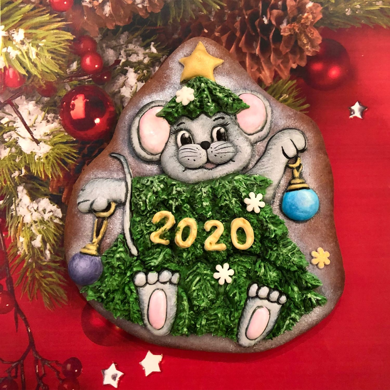 Пряники: Мышка/крыса с елочкой. Игрушки новогодние. Символ года 2020, Набор пряников, Москва,  Фото №1