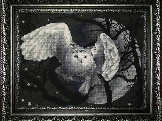 Животные ручной работы. Ярмарка Мастеров - ручная работа. Купить Картина вышитая крестом Белая Сова. Handmade. Чёрно-белый