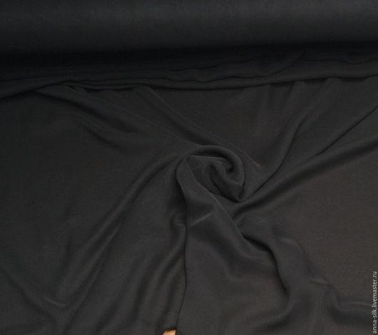 Ярмарка  Мастеров. Купить Крепдешин ЧЕРНЫЙ, 140 см, 16 мм, натуральный шелк 100%. Материалы для творчества, Купить Крепдешин черный, натуральный шелк 100%