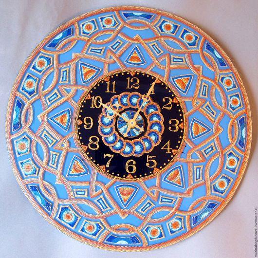 """Часы для дома ручной работы. Ярмарка Мастеров - ручная работа. Купить Часы Мандала """"Лазурь"""" настенные интерьерные. Handmade. Бирюзовый"""