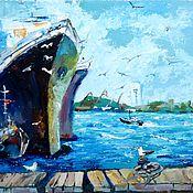 Картины и панно ручной работы. Ярмарка Мастеров - ручная работа 8. Картина порт море корабль Чайки в порту 18 на 24 см в наличии хюгге. Handmade.