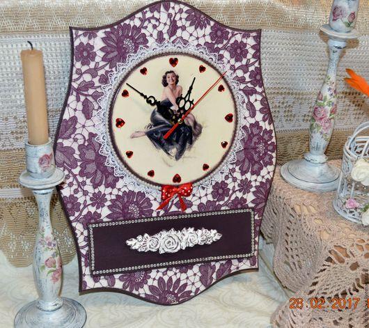 Часы для дома ручной работы. Ярмарка Мастеров - ручная работа. Купить Часы в дамскую комнату Леди нежность. Handmade. Белый