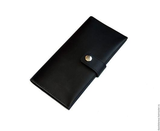 """Кошельки и визитницы ручной работы. Ярмарка Мастеров - ручная работа. Купить Кожаный черный кошелек """"Black"""". Handmade. Черный"""
