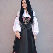 """handmade. Livemaster - original item Вышитый костюм """"Розы и лаванда"""" роскошный комплект с ручной вышивкой. Handmade."""